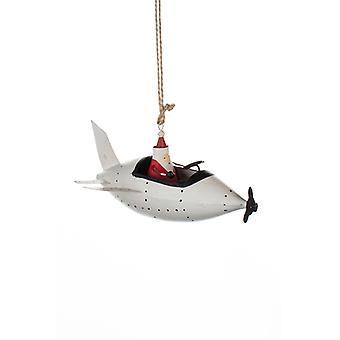 Shoeless Joe Santa in Plane Xmas Decoration