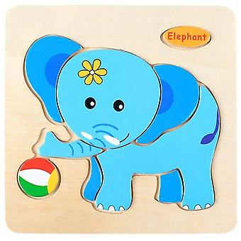 Baby toys 3d wooden puzzle jigsaw toys for children cartoon animal puzzles intelligence kids early educational brain teaser toys