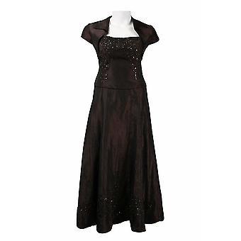 Beaded Tafetta Dress With Bolero Jacket