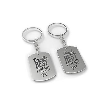 Brünette und Blonde beste Freund Schlüsselanhänger Set - BFF Schlüsselanhänger für Geschenk