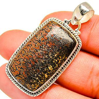 Dinosaur Bone Pendant 1.375 (925 Sterling Silver)  - Handmade Boho Vintage Jewelry PD10635