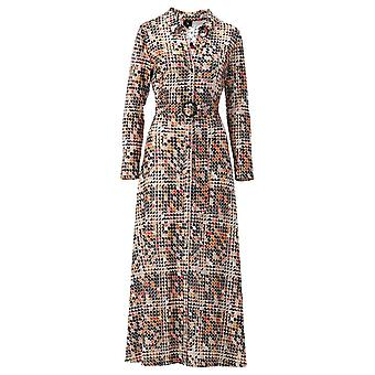 K-design Cream Belted Long Sleeve Maxi Shirt Dress With Abstract Print