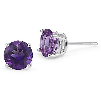 Amethyst Ohrstecker, 14K White Gold