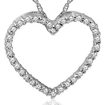 14K valkokulta 1 / 2ct timantti sydän riipus kaulakoru