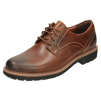 Mens Clarks Smart Lace Up schoenen Batcombe Hall - donkere Tan leer - UK Size 6G - EU maat 39,5 - US maat 7M
