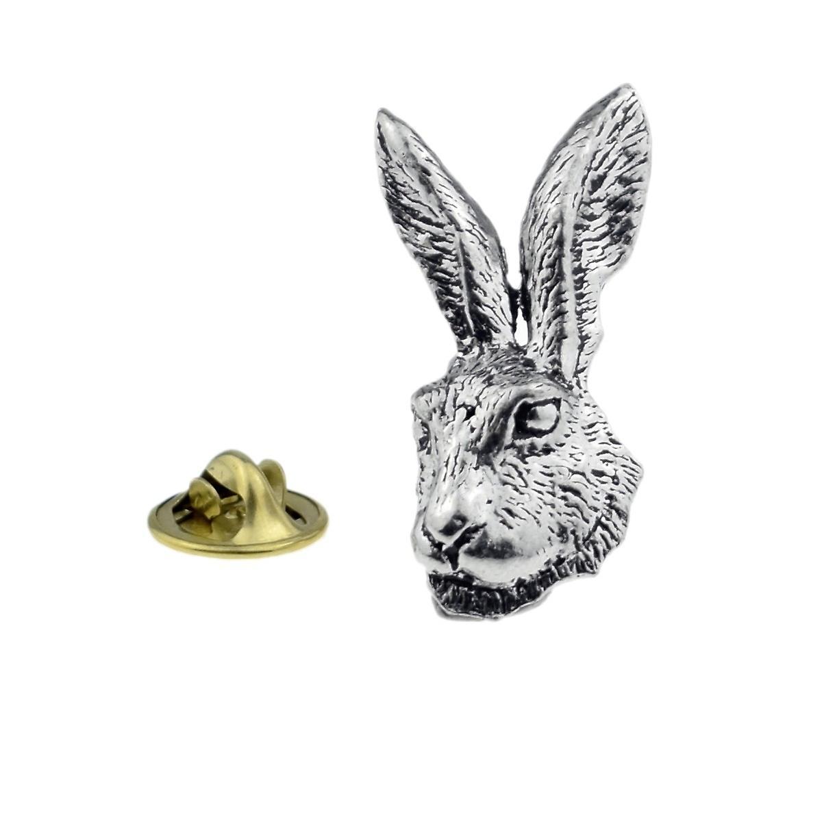 Hare Head Pewter Lapel Pin Badge, Rabbit