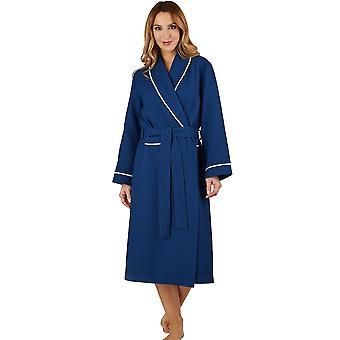 Slenderella HC1301 Women's Waffle Navy Sabahlık Salon Elbise Bornoz