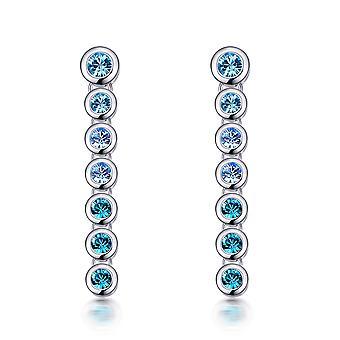 Brincos em cascata adornados com cristais Swarovski azuis