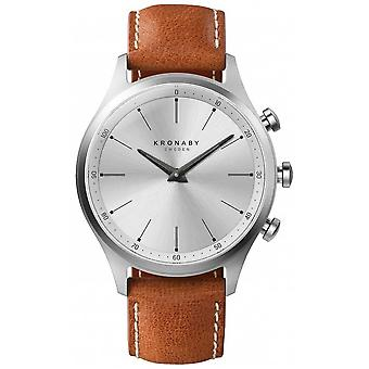 Kronaby 41mm SEKEL zilver wijzerplaat bruin lederen band A1000-3125 S3125/1 horloge