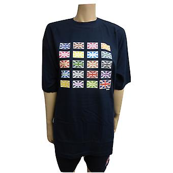 Union Jack Wear Multi Union Jack Designer T Shirt Mörkblå