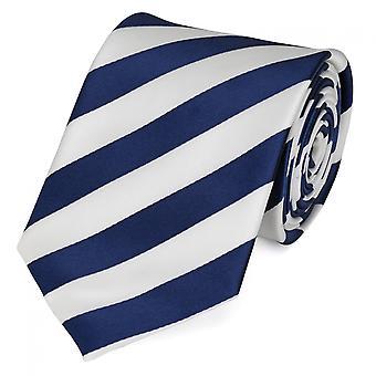 Knyta slips tie slips 8cm blå Fabio Farini vit randig