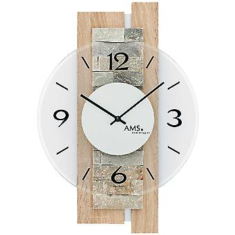 AMS 9542 wall clock quartz analog modern wooden Sonoma optics with natural stone and glass
