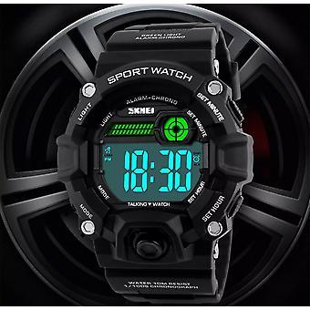 Skmei Large Display Digital Watch Loud Alarm Black Red 50m Sports Watch UK Seller