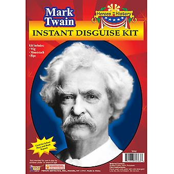 Mark Twain Writer Humorist Historical Mens Costume Wig Moustache Pipe Kit