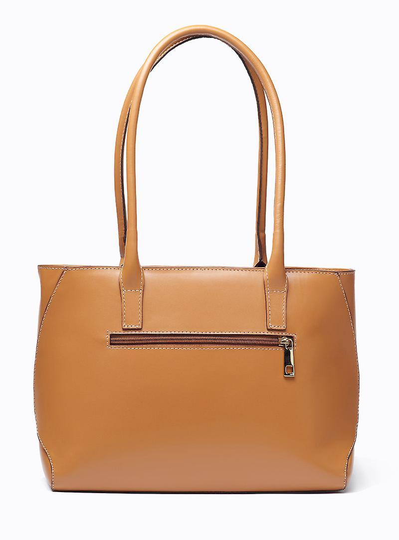 VIVER Concord Tan Leather Shoulder Bag