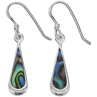 Begin Paua Shell langwerpige Teardrop Drop Oorbellen - Multi kleur/zilver
