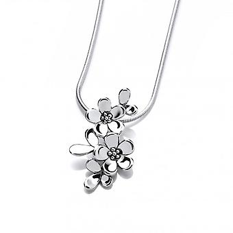 Cavendish French Tiny Sterling Silver Forget-Me-Not Pendant with 16-18