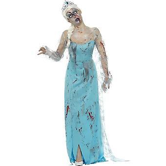 Zombie erfroren Tod Kostüm, blau, mit Kleid, befestigt Latex Rippen & Tiara