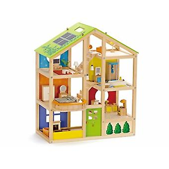 HAPE All Season Furnished Wooden Doll House E3401 Happy Family Children 3 ans et plus