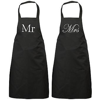 Couples Mr and Mrs Black Apron Set