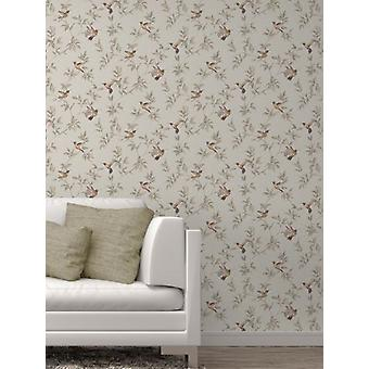 Elegant Sparkle Hummingbirds Beige Wallpaper Wall Decoration 0.52m x 10.05m