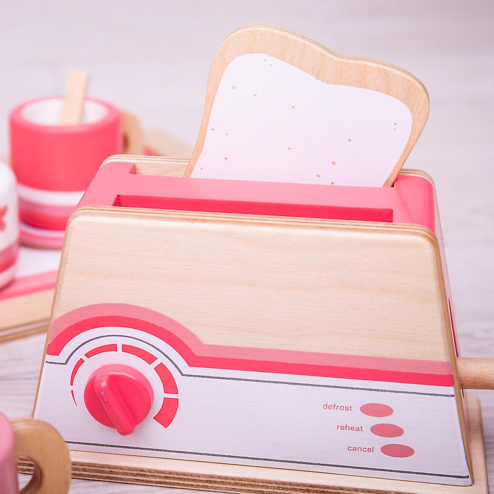 Bigjigs Toys Wooden Pink Toaster with Wood Bread - Play Food, Roleplay