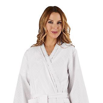 Slenderella HC3234 Women's Cotton Woven White Dressing Gown Loungewear Bath Robe Kimono