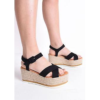 Flatform gevlochten Espadrilles wig sandalen zwart