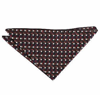 Noir et Bronze, argent et rouge damier géométrique mouchoir de poche