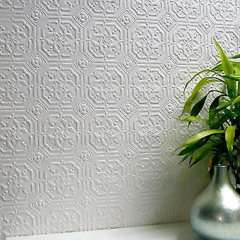 Papel tapiz se puede pintar con textura relieve lujo vinilo flor Floral Derby Anaglypta