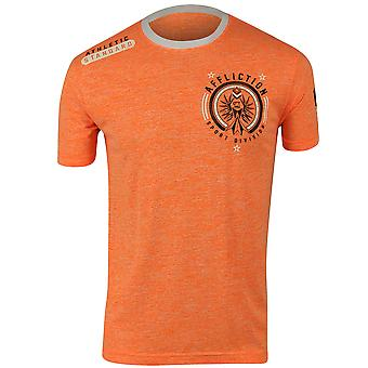 Affliction Mens Athletic Standard T-Shirt - Neon Orange