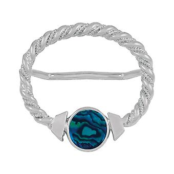 Evig samling Maxi blå Paua Shell store sølv skjerf Ring