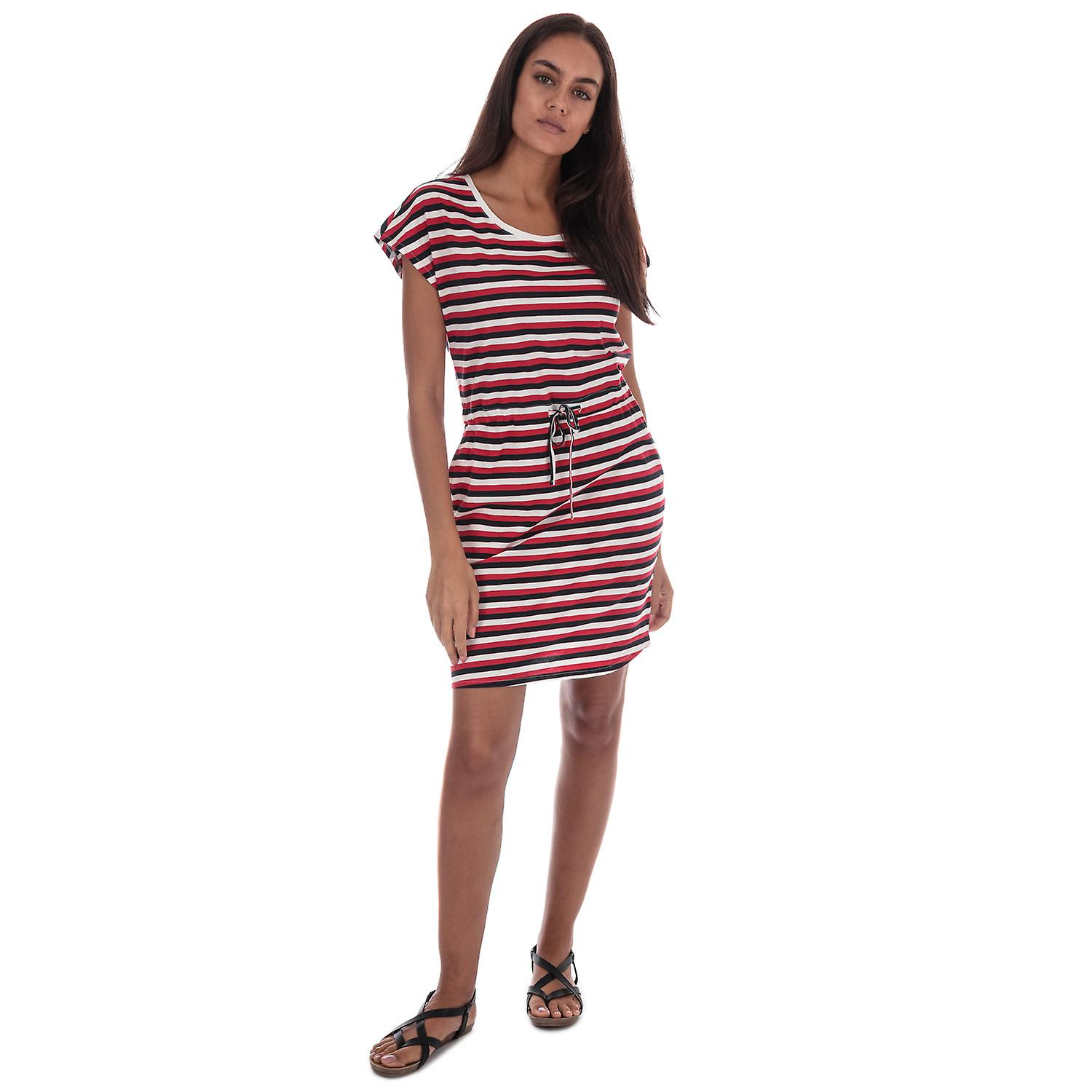 Womens Vero Moda April Stripe Dress In Snow White / Night Sky / Chinese Red