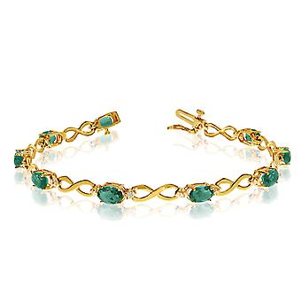 14K Yellow Gold Oval Emerald Stones And Diamonds Infinity Tennis Armband, 7