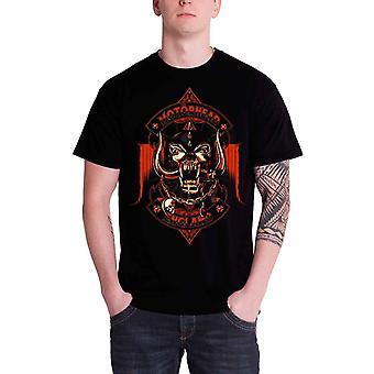 Motorhead T Shirt Orange Ace of Spades Warpig Band Logo Official Mens New Black