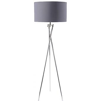 Weegschaal meubels nikkel twist statief vloer lamp met grijze kap