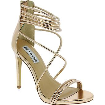 Steve Madden high stiletto sandals with zip in golden pink faux leather