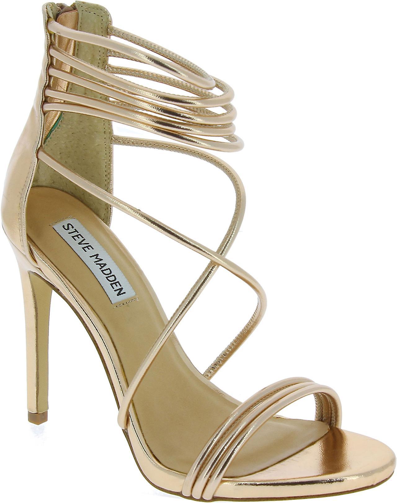 Steve Madden wysokie sandały szpilki z zamkiem błyskawicznym w złoty różowy faux skóry LAWXH