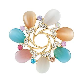 Eternal Collection Blooms Crystal And Cat's Eye Cabochon Scarf Clip
