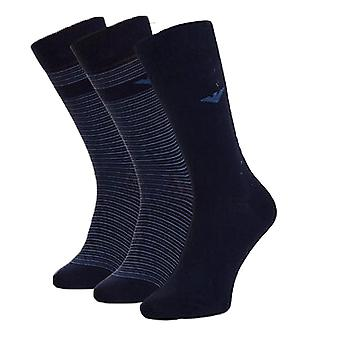 Emporio Armani 3 Pack Stretch Calcetines de Logotipo de Algodón Stretch, Azul / Azul Stripe