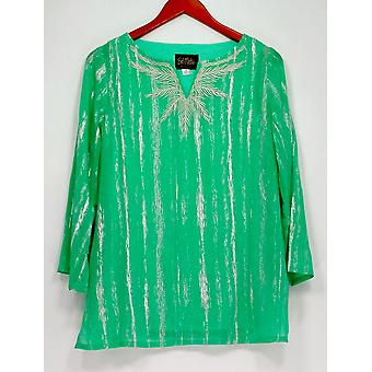 Bob Mackie Women's Top Split Neck Embroidered Green A266368