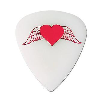6 Pickboy Angel Rocks - Guitar Picks/Plectrums - Flying Hearts - White 1.00mm