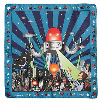 Simon Carter Vintage Robot Pocket Square - Blue