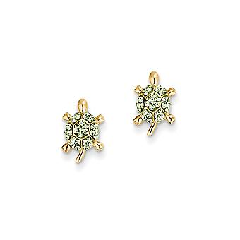 14k Yellow Gold Polished Light Green Crystal Turtle Post Earrings Jewelry Gifts for Women
