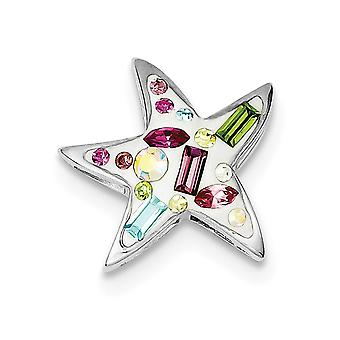925 Sterling Argent Poli Hidden caution Textured dos Rhodium Plaqué Stellux Crystal Star Slide Bijoux Cadeaux pour les femmes