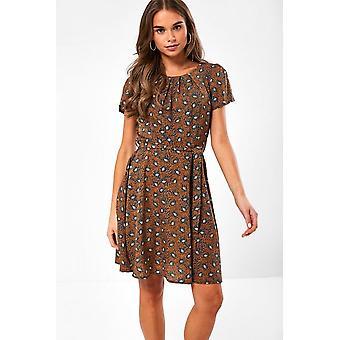 iClothing Frankie Paisley Print Short Dress In Orange-16