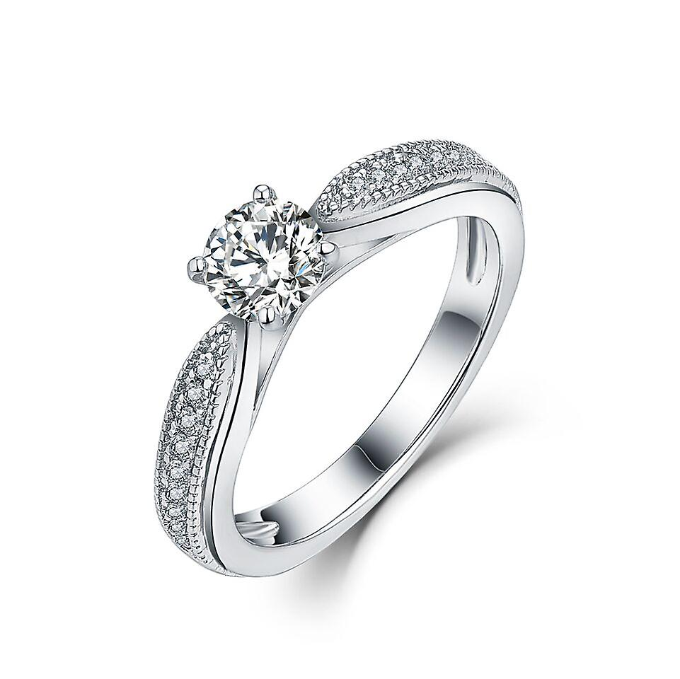 925 Sterling Silver Round Solitaire With Milgrain Accent