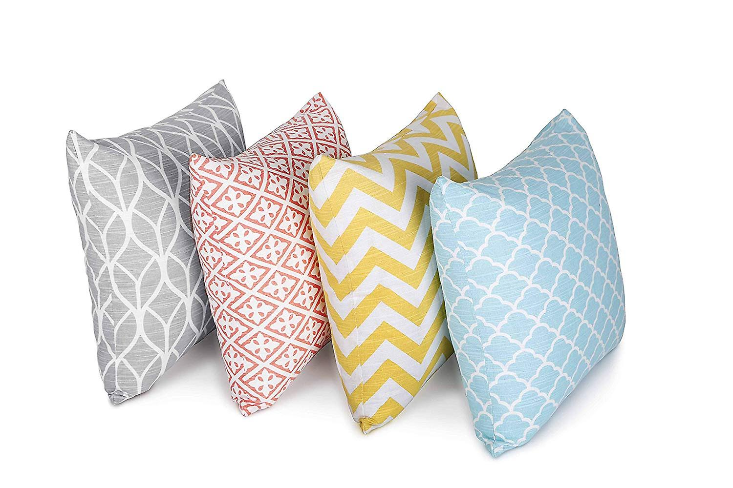 Penguin Home Pack of 4 Co-ordinated Square Cushion Covers 100% Cotton