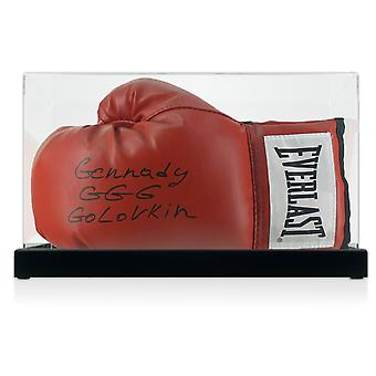 Gennady Golovkin Signed Red Boxing Glove In Display Case