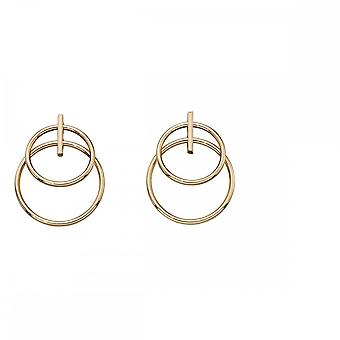 Elements Gold Yellow Gold Double Circle Earrings GE2160
